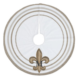 Gold Fleur de Lis Burlap Decorative Fleece Tree Skirt