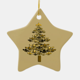 Gold Fleur de Lis Christmas Tree Star Christmas Ornament