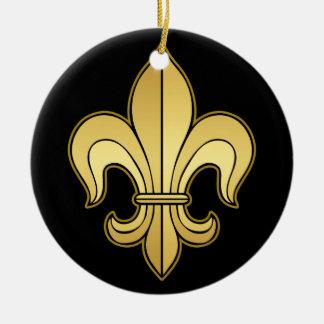 Gold Fleur de lis Double-Sided Ceramic Round Christmas Ornament