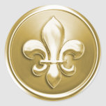 Gold Fleur de Lis Envelope Seal Embossed Look Round Sticker
