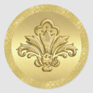 Gold Fleur de Lis Envelope Seal Round Sticker