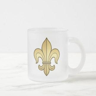 Gold Fleur de lis Frosted Glass Coffee Mug