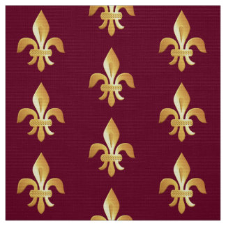 Gold Fleur-de-lis on burgundy Fabric