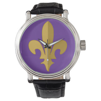 Gold fleur de lis on purple vintage strap watch