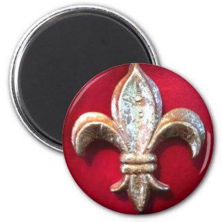 Gold  Fleur de lis on Red 6 Cm Round Magnet