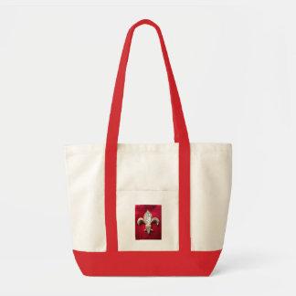Gold  Fleur de lis on Red Impulse Tote Bag