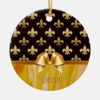 Gold Fleur de Lis Pattern New Orleans Personalized Christmas Ornament