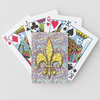 Gold Fleur de Lis Psychedelic Background Bicycle Playing Cards