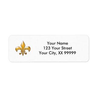Gold Fleur de Lis Return Address Labels