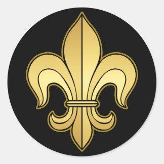 Gold Fleur de lis Round Sticker