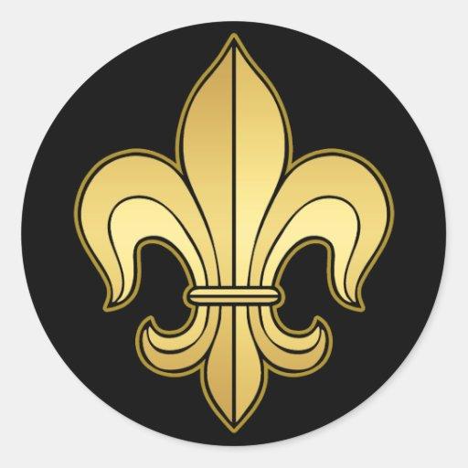 Gold Fleur De Lis Round Sticker Zazzle