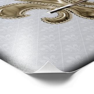 Gold Fleur de Lis silver background black edges Art Photo