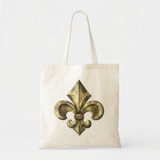 Gold Fleur de lis Canvas Bag