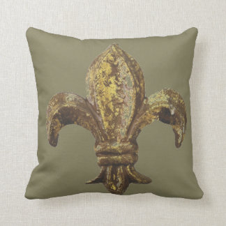 "GOLD ""FLEUR DE LIS"" WITH CUSTOMIZABLE BACKGROUND CUSHION"