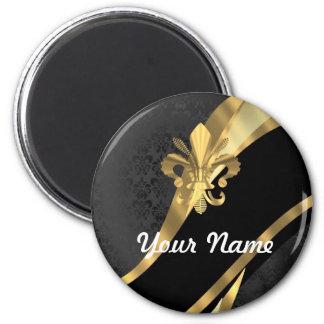 Gold fleur de lys on black 6 cm round magnet