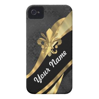 Gold fleur de lys on black iPhone 4 case