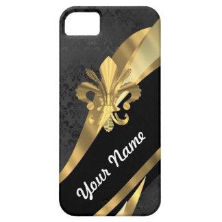 Gold fleur de lys on black iPhone 5 case