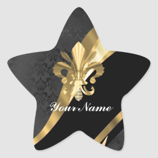 Gold fleur de lys on black star sticker