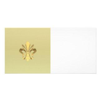 Gold fleur de lys personalized photo card
