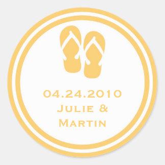 Gold flip flop thong wedding favor tag seal label