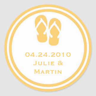 Gold flip flop thong wedding favor tag seal label round sticker