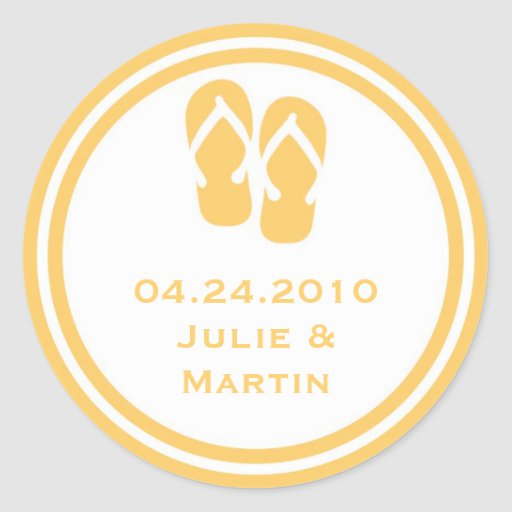 Gold flip flop thong wedding favor tag seal label round sticker