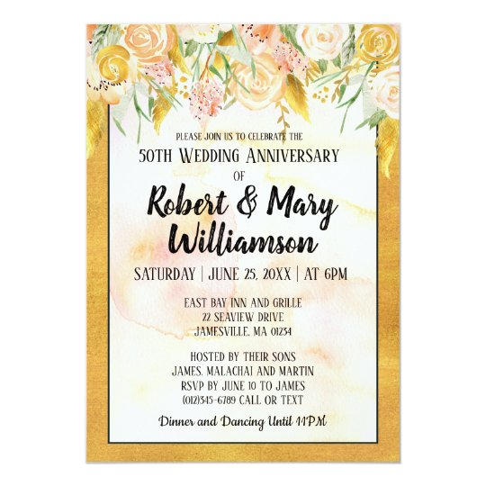 Gold Floral 50th Wedding Anniversary Invitation
