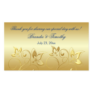 Gold Floral and Royal Blue Wedding Favor Tag Business Card Templates