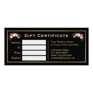 Gold Floral Black White Stripes Gift Certificate
