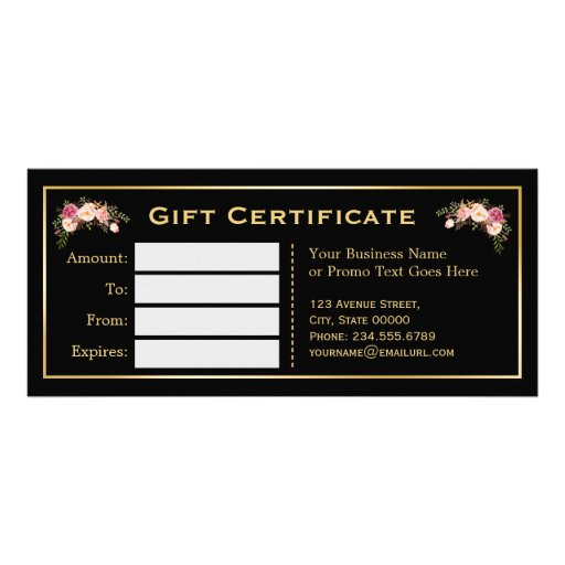 Gold floral black white stripes gift certificate custom rack card zazzle for Zazzle gift certificate