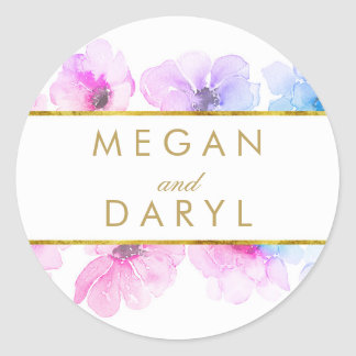 Gold Floral Blue Purple Elegant Wedding Classic Round Sticker