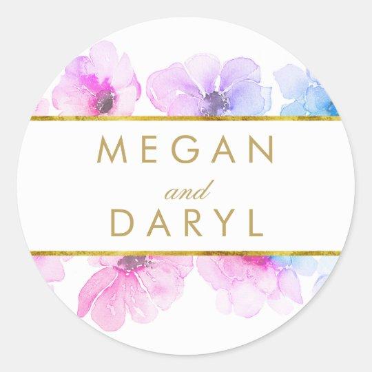 Gold Floral Blue Purple Elegant Wedding Round Sticker