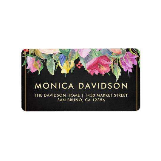 Gold Floral Border & Chalkboard | Bridal Shower Label