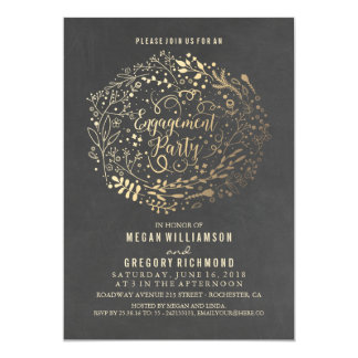 Gold Floral Bouquet Chalkboard Engagement Party Card