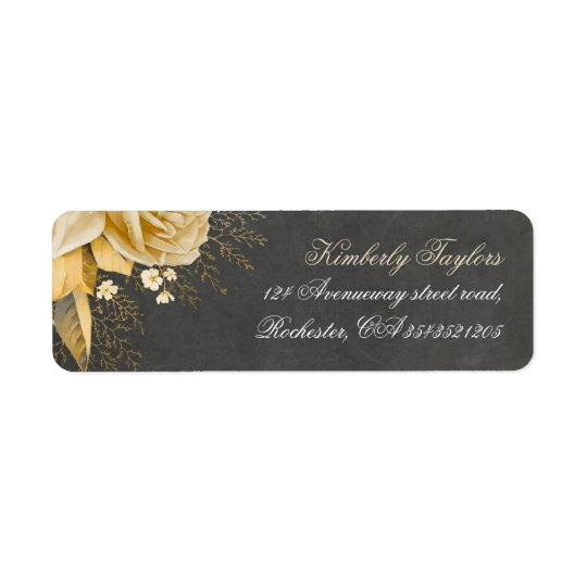 Gold Floral Chalkboard Vintage Wedding Return Address Label