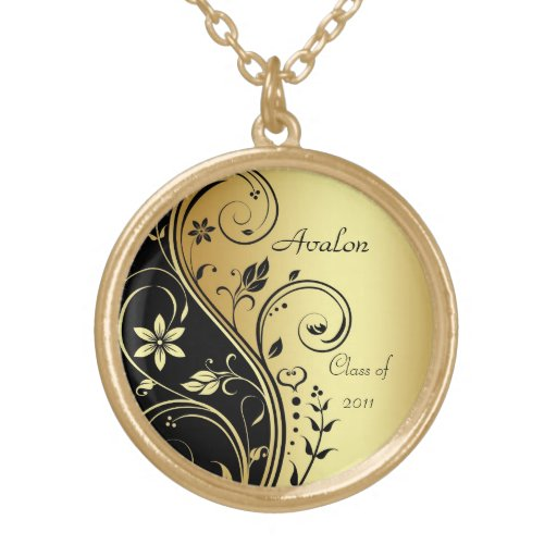 Gold Floral Class of Graduation Gold Necklace