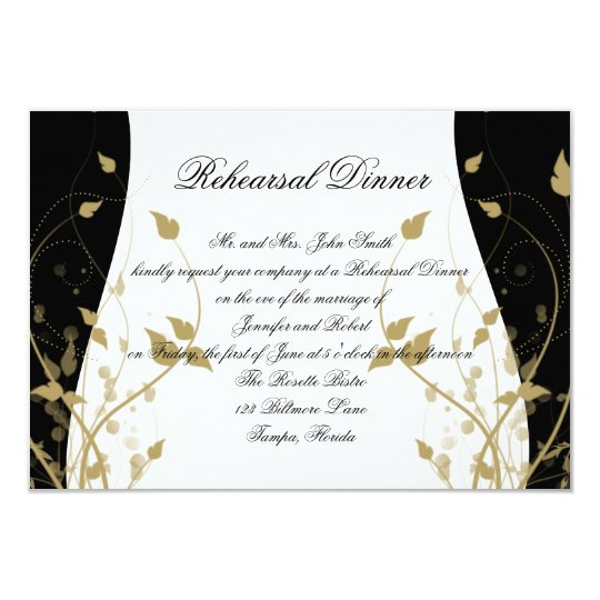 Gold Floral Curved Wedding Rehearsal Dinner Card
