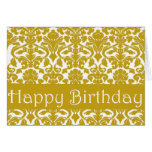 Gold Floral Damask Happy Birthday Card