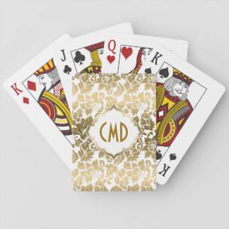 Gold Floral Damask Over White Background Playing Cards
