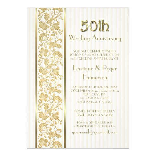 Gold Floral Elegance 50th Wedding Anniversary Card