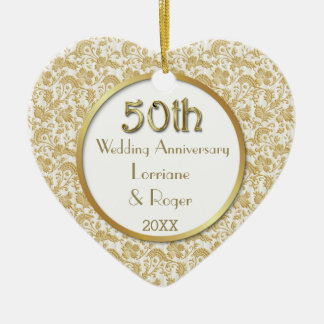 Gold Floral Elegance 50th Wedding Anniversary Christmas Ornament