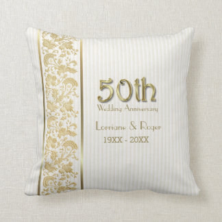 Gold Floral Elegance 50th Wedding Anniversary Cushion