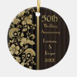 Gold Floral Elegance 50th Wedding Anniversary Round Ceramic Decoration