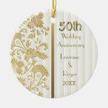 Gold Floral Elegance 50th Wedding Anniversary Round Ceramic Decoration