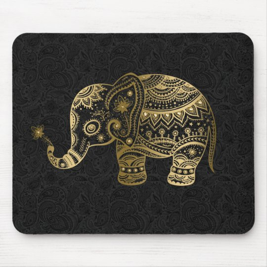 Gold Floral Elephant Black Background Mouse Mat