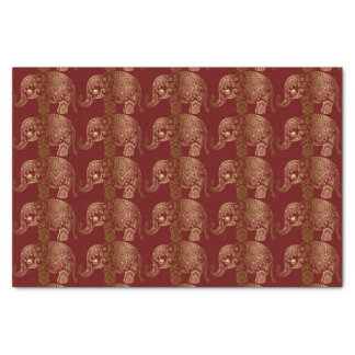 Gold Floral Elephant Pattern On Dark Red Tissue Paper