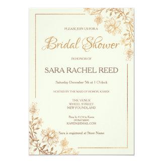 Gold Floral Flourish Bridal Shower  Invitation