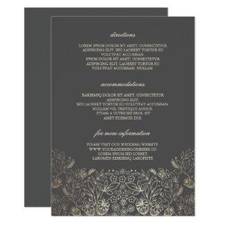 Gold Floral Grey Wedding Details - Information Card