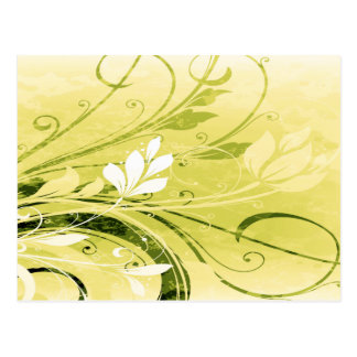 Gold Floral Grunge Postcard