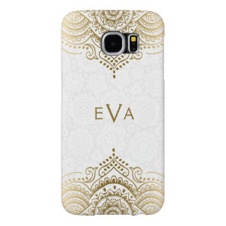 Gold Floral Lace Plush White Background Samsung Galaxy S6 Cases